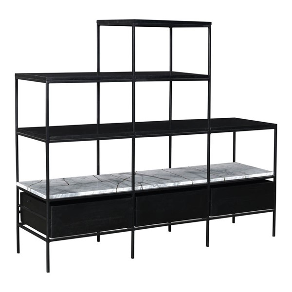 Moes Home Fascino Black Wood Bookshelf MOE-BZ-1084-02