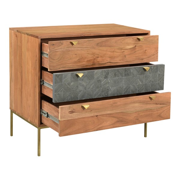 Moes Home Alessio Brown 3 Drawers Chest MOE-BZ-1088-03