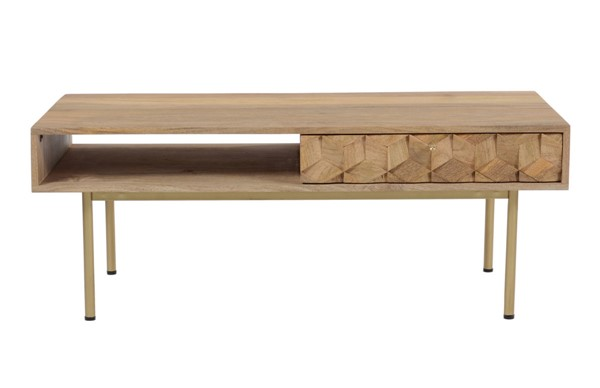 Moes Home Brixton Natural Mango Brass Iron Plywood Coffee Table MOE-BZ-1101-24