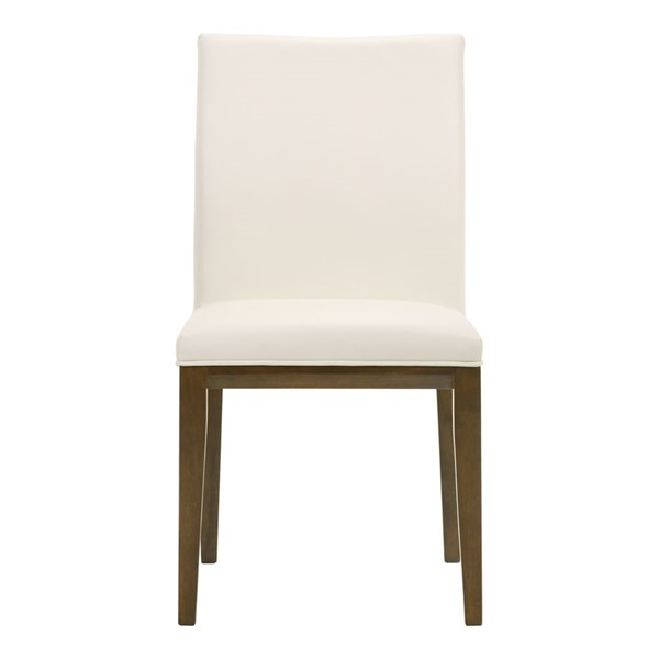 2 Moes Home Frankie White Leather Dining Chairs MOE-EQ-1011-18
