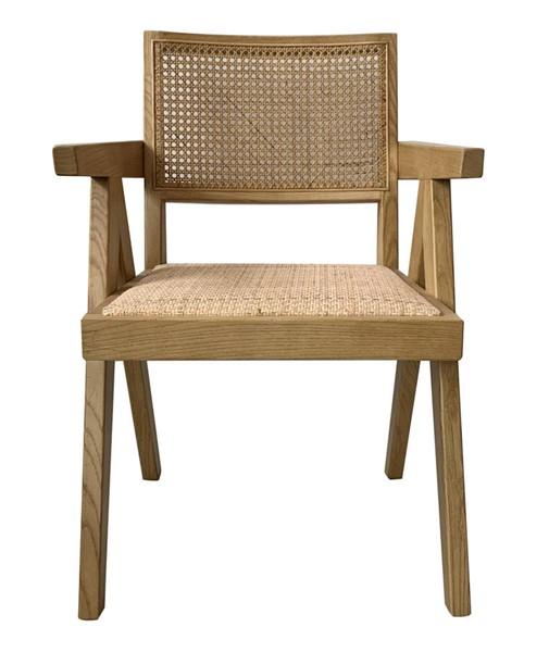 2 Moes Home Takashi Natural Solid Elm Rattan Chairs MOE-FG-1022-24
