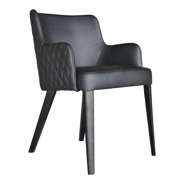 2 Moes Home Zayden Black Leather Dining Chairs MOE-GO-1004-02