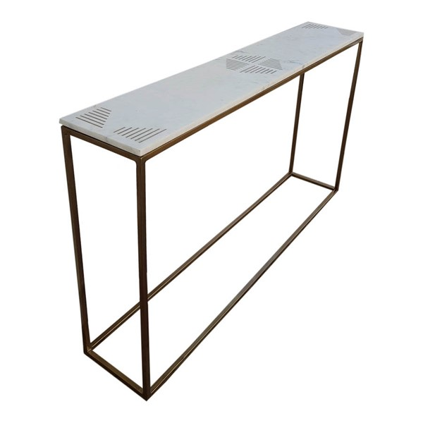 Moes Home Quarry White Marble Console Table MOE-GZ-1003-18