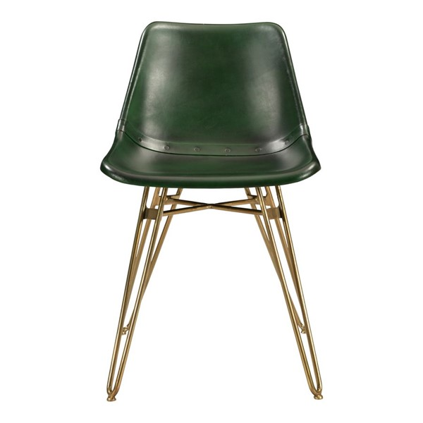 2 Moes Home Omni Green Goat Leather Dining Chairs MOE-GZ-1013-16