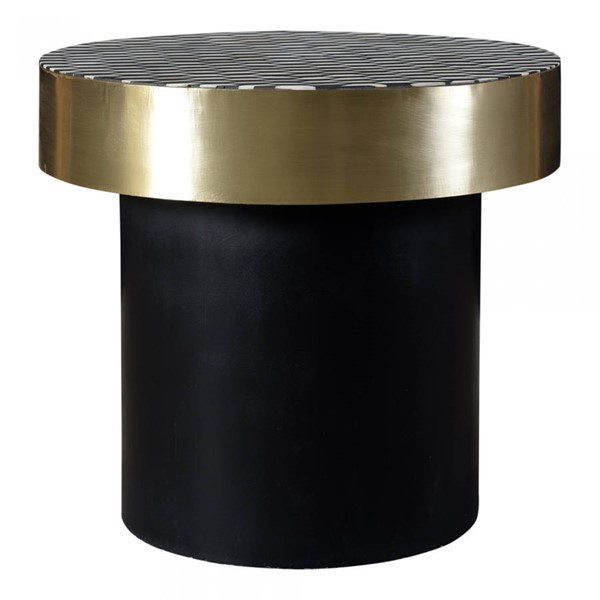 Moes Home Optic Black Gold Round Side Table MOE-GZ-1132-43