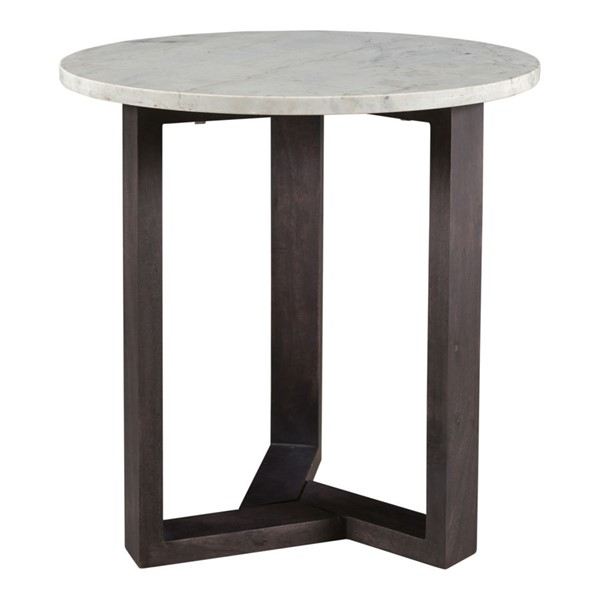 Moes Home Jinxx White Charcoal Marble Side Table MOE-JD-1019-07