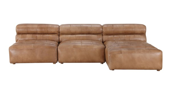 Moes Home Ramsay Tan Leather Modular Sectionals MOE-QN-1018-SEC-VAR