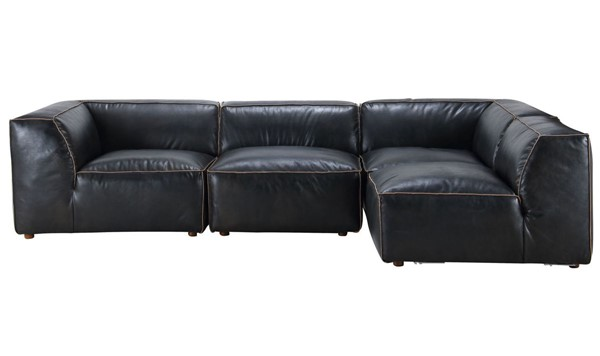 Moes Home Luxe Antique Black Grain Leather Modular Sectional MOE-QN-1022-01