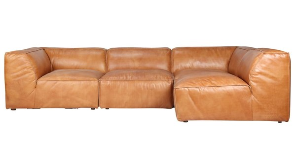 Moes Home Luxe Tan Grain Leather Modular Sectional MOE-QN-1022-40