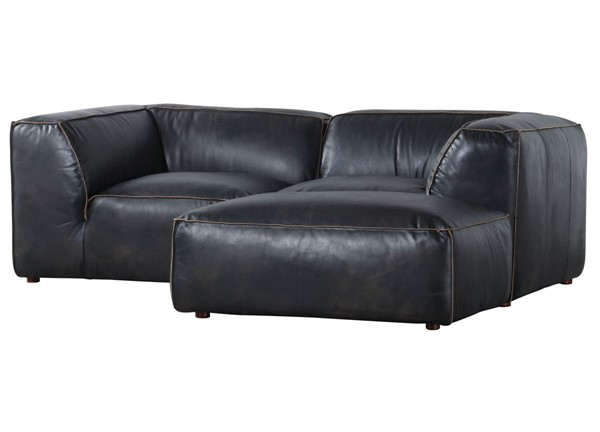 Moes Home Luxe Antique Black Grain Leather Nook Modular Sectional MOE-QN-1024-01
