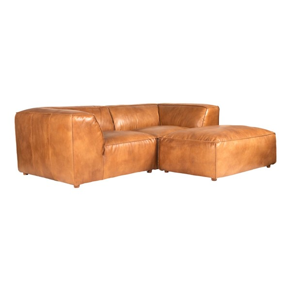 Moes Home Luxe Tan Nook Grain Leather Modular Sectional MOE-QN-1024-40