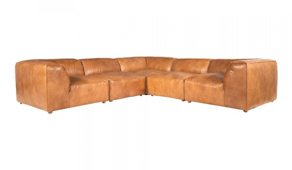 Moes Home Luxe Tan Leather L Modular Sectional MOE-QN-1025-40