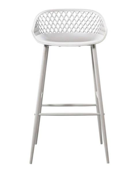 2 Moes Home Piazza White Faux Leather Outdoor Barstools MOE-QX-1004-18