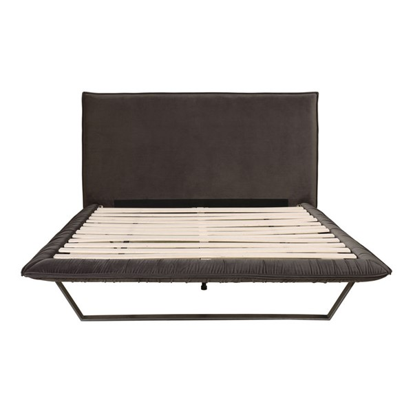 Moes Home Manilla Dark Grey Velvet King Bed MOE-RN-1128-25