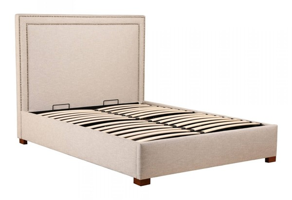 Moes Home Kenzo Beige Ecru Fabric Storage Bed King MOE-RN-1136-34