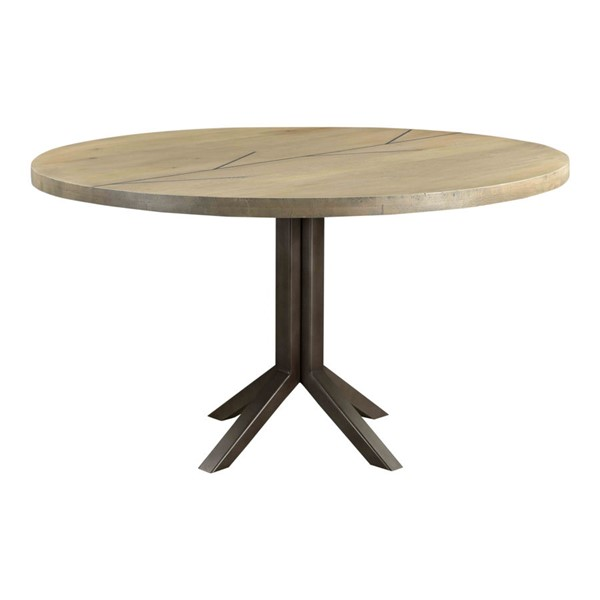 Moes Home Branch Grey Solid Oak Round Dining Table MOE-VE-1071-15