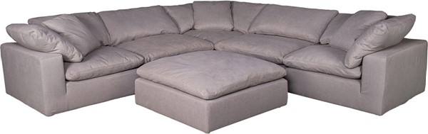 Moes Home Clay Light Grey Fabric Livesmart Modular Sectional with Ottoman MOE-YJ-1003-29