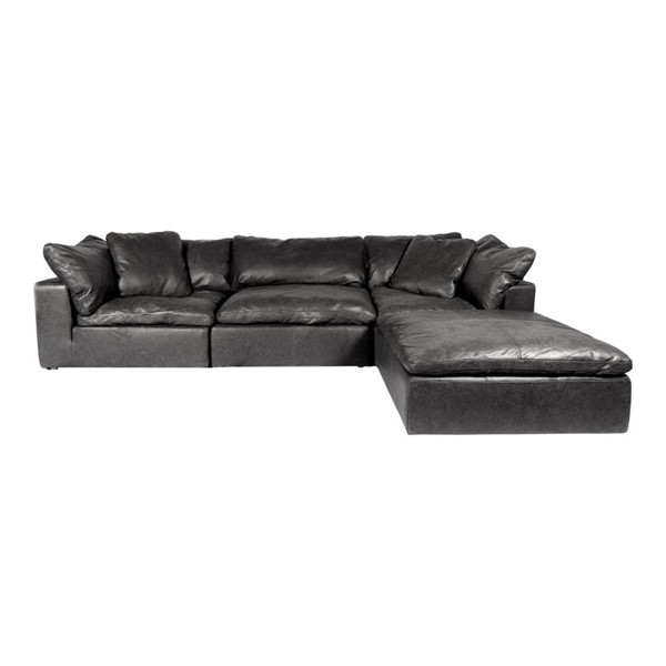 Moes Home Clay Black Grain Leather Lounge Modular Sectional MOE-YJ-1008-02