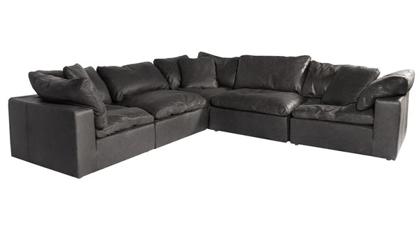 Moes Home Clay Black Grain Leather Classic Modular Sectional MOE-YJ-1010-02