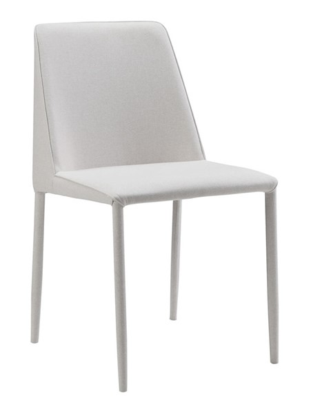 2 Moes Home Nora White Polyester Iron Dining Chairs MOE-YM-1003-29
