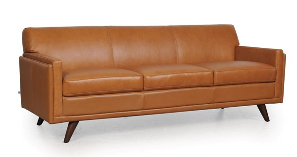 Moroni Milo Mid Century Tan Leather Sofa MOR-36103BS1961