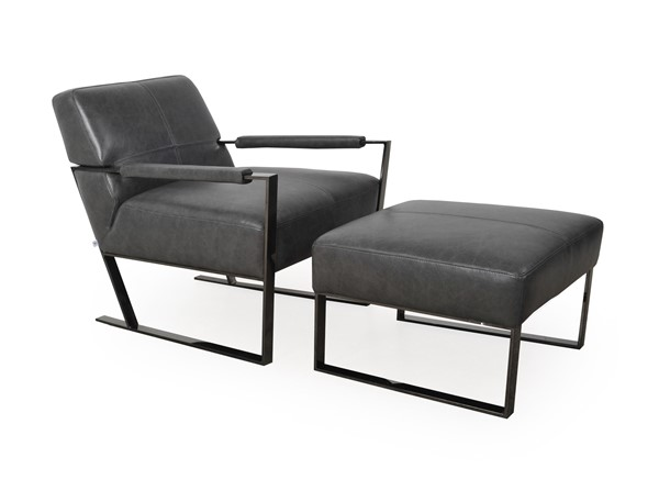 Moroni Uno Charcoal Leather Chair and Ottoman Set MOR-53701L2181-CHO-S1