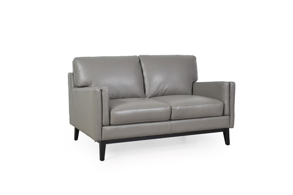 Moroni Osman Dark Grey Leather Loveseat MOR-35202MS1309