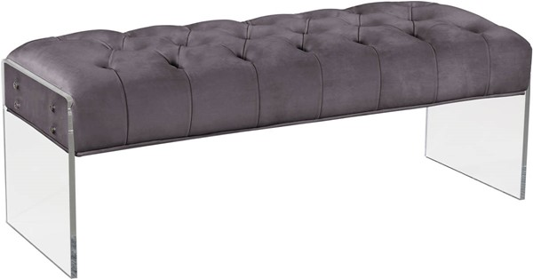 Meridian Furniture Jane Grey Velvet Bench MRD-103Grey
