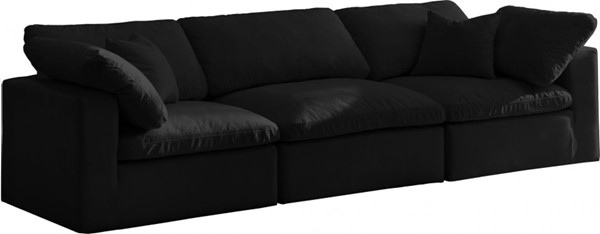 Meridian Furniture Cozy Black Velvet Cloud Modular Sofa MRD-634Black-S119