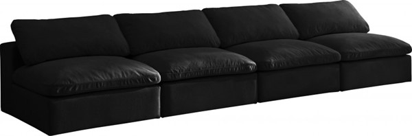Meridian Furniture Cozy Black Cream Velvet 4pc Armless Sofas MRD-634Black-S156-SF-VAR