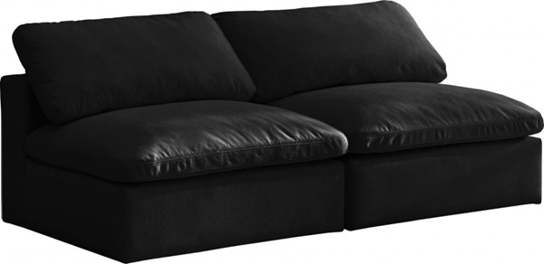 Meridian Furniture Cozy Black Velvet 2pc Armless Sofas MRD-634Black-S78