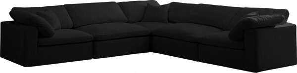 Meridian Furniture Cozy Black Velvet Cloud Modular 5pc Sectionals MRD-634Black-Sec5C