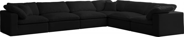 Meridian Furniture Cozy Black Cream Velvet 6pc Sectionals MRD-634Black-Sec6A-SEC-VAR
