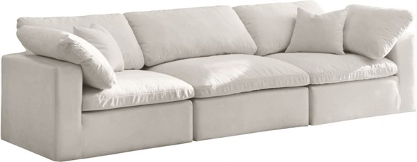 Meridian Furniture Cozy Cream Velvet Cloud Modular Sofa MRD-634Cream-S119