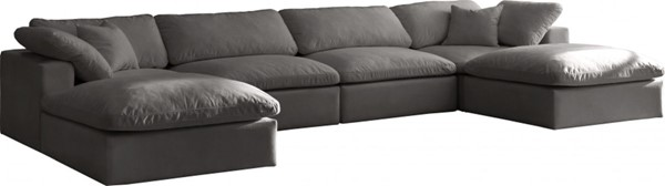 Meridian Furniture Cozy Grey Velvet 6pc Cloud Modular Sectionals MRD-634Grey-Sec6B