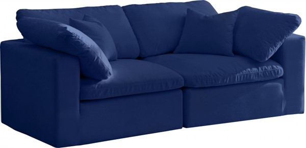 Meridian Furniture Cozy Navy Velvet 2pc Cloud Modular Sofas MRD-634Navy-S80