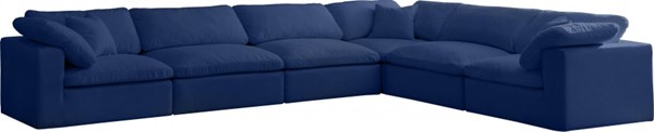 Meridian Furniture Cozy Navy Velvet 6pc Sectionals MRD-634Navy-Sec6A