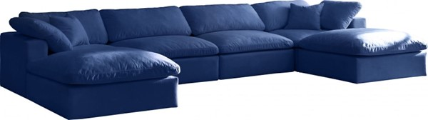 Meridian Furniture Cozy Navy Velvet 6pc Cloud Modular Sectionals MRD-634Navy-Sec6B