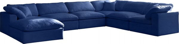 Meridian Furniture Cozy Navy Velvet 7pc Sectionals MRD-634Navy-Sec7A