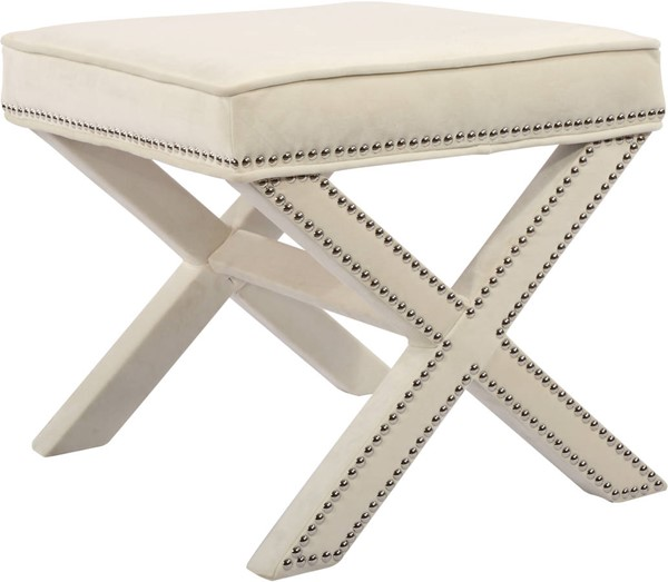 Meridian Furniture Nixon Cream Velvet Ottoman MRD-126Cream