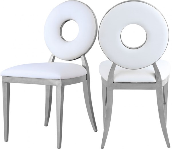 2 Meridian Furniture Carousel White Dining Chairs MRD-859White-C
