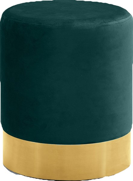 Meridian Furniture Joy Green Velvet Gold Base Ottoman MRD-127Green