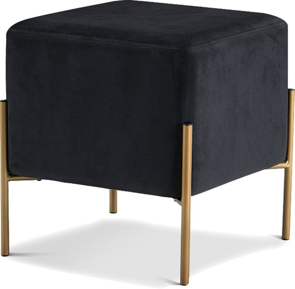 Meridian Furniture Isla Black Velvet Gold Ottoman MRD-131Black