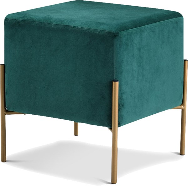 Meridian Furniture Isla Green Velvet Gold Ottoman MRD-131Green