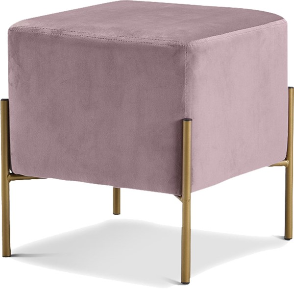 Design Edge Tenterfield  Pink Velvet Gold Ottoman DE-22779223
