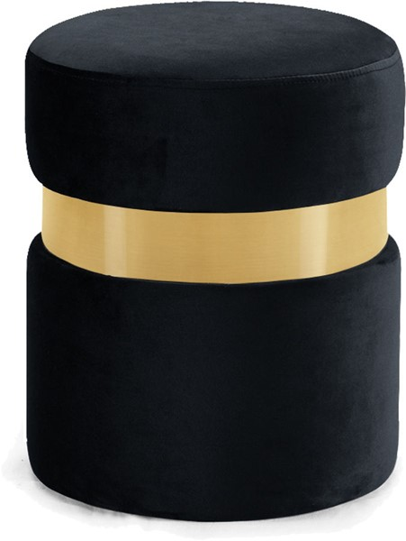 Meridian Furniture Hailey Black Velvet Gold Band Ottoman MRD-132Black