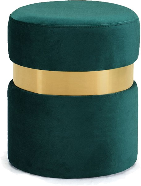 Design Edge Seven Hills  Green Velvet Gold Band Ottoman DE-22779080