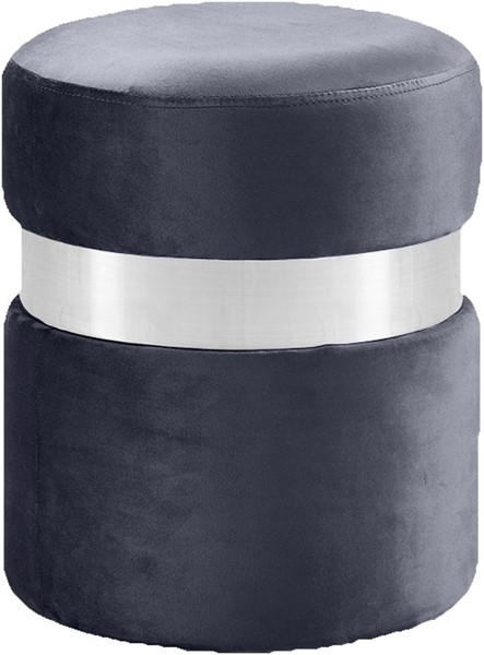 Meridian Furniture Hailey Grey Velvet Chrome Band Ottoman MRD-133Grey