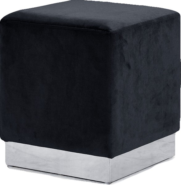 Meridian Furniture Jax Black Velvet Chrome Base Ottoman MRD-135Black