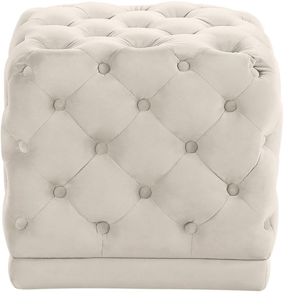 Design Edge Esk  Cream Velvet Ottoman DE-22609453